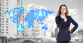 Businesswoman stands near map with icons Royalty Free Stock Photo