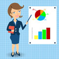 Businesswoman with statistic graphs cartoon is explaining something in front of Royalty Free Stock Images