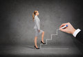 Businesswoman stepping up staircase business and education concept staricase Royalty Free Stock Photo