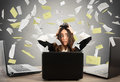 Businesswoman stressed by spam Royalty Free Stock Photo