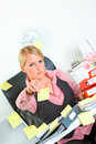 Businesswoman stretches out hand with sticky notes Royalty Free Stock Photo