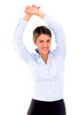 Businesswoman stretching her arms Stock Image