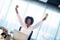 Businesswoman succeeding Royalty Free Stock Photo