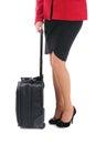 Businesswoman suitcase white background Royalty Free Stock Image