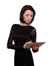 Businesswoman with a tablet isolated on white Royalty Free Stock Photo