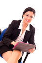 Businesswoman with tablet working picture on white background Stock Photo