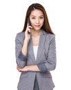 Businesswoman talk to cellphone Royalty Free Stock Photo