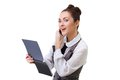 Businesswoman talking on the phone and taking Royalty Free Stock Photo