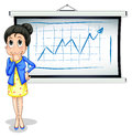 A businesswoman thinking in front of whiteboard illustration the on white background Royalty Free Stock Photography