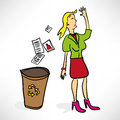 Businesswoman throws documents in the trash Stock Images