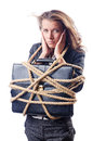 Businesswoman tied with rope Royalty Free Stock Photo