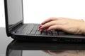 Businesswoman typing on keyboard on laptop Royalty Free Stock Photo