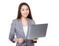 Businesswoman use of laptop computer Royalty Free Stock Photo