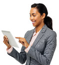Businesswoman using digital tablet young over white background horizontal shot Stock Images