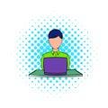Businesswoman using laptop icon, comics style