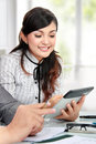Businesswoman using tablet pc Stock Photo