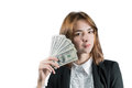 Businesswoman with wad of money in her hands portrait young isolated on white Stock Photo