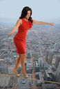 Businesswoman Walking on Tightrope Royalty Free Stock Photo