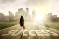 Businesswoman walking to success Royalty Free Stock Photo
