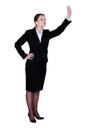 Businesswoman waving brunette someone down Royalty Free Stock Photos