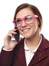 Businesswoman wearing glasses and talking to the phone closeup of cheerful nerd cell isolated on white background Stock Image