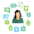 Businesswoman with work tasks illustration of anonymous faceless in green jumper surrounded by icons standing for various Stock Photos