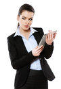 Businesswoman working on digital tablet isolated white Royalty Free Stock Photos
