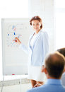 Businesswoman working with flip board in office pointing at graph on Stock Image