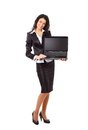 Businesswoman working on the laptop in the office Stock Image