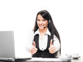 A businesswoman working in an office young confident and beautiful customer support operator call center Stock Photo