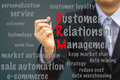 Businesswoman write Customer Relationship Management (CRM) relation concept Royalty Free Stock Photo
