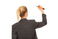 Businesswoman writing with pen attractive oversized Stock Photography