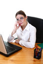 Businesswoman young business woman calling by phone Royalty Free Stock Image