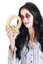 Businesswoman in zombie makeup with cutout question mark sign white background Stock Photos