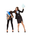 Businesswomen beating each other portrait of with notebooks isolated on white Stock Photos
