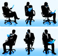 Businesswomen and businessmen silhouettes set of in office chairs Stock Photography