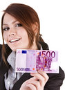 Businesswomen with group of money euro. Royalty Free Stock Photo