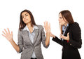 Businesswomen having an argument portrait of two isolated on white background Royalty Free Stock Image