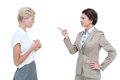 Businesswomen having a violent debate in office against white screen Royalty Free Stock Photo