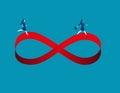 Businesswomen running on infinity symbol. Concept business image