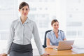 Businesswomen smiling at camera with one sitting and one standin standing desk in office Stock Photo