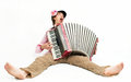 Busker crazy musician plays the accordion Stock Photos