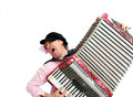 Busker crazy musician plays the accordion Stock Image