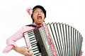 Busker crazy musician plays the accordion Royalty Free Stock Photos