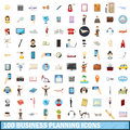 100 busness planning icons set, cartoon style