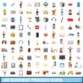100 busness process icons set, cartoon style
