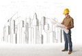 Bussines Engineer man with building city drawing in background Royalty Free Stock Photo