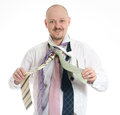 Bussines man hopeless choosing many ties Royalty Free Stock Photography