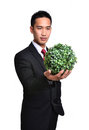 Bussiness man with future eco green energy concept isolated Stock Photography