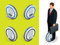 Bussiness man on One-wheeled Self-balancing electric scooter vector isometric illustrations. Intelligent and fashionable